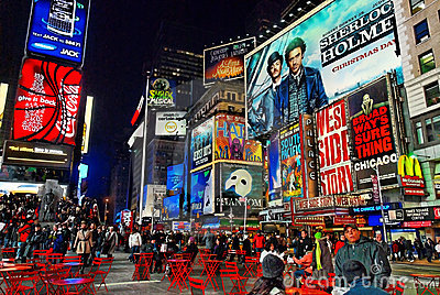 Times Square Manhattan Broadway Signs Red Tables Editorial Stock Image
