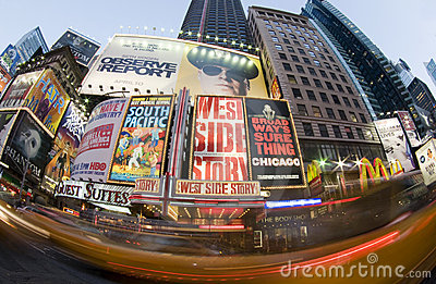 Times square new york taxi movement Editorial Photography