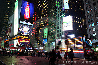 Times Square at Night Editorial Photo