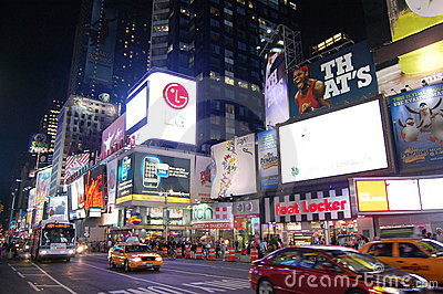 Times Square at night, New York City Editorial Stock Photo