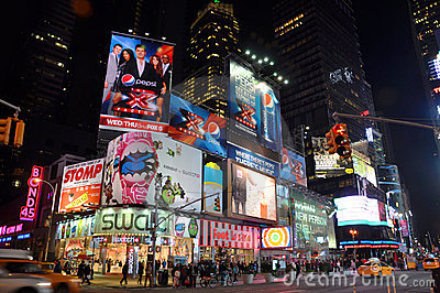 Times Square at night, New York City Editorial Stock Image