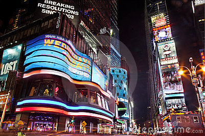 Times Square at Night New York City Editorial Stock Photo