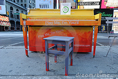 Times Square Piano Editorial Stock Photo