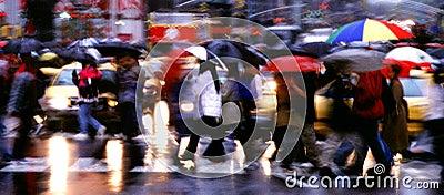Times Square Rain Panorama
