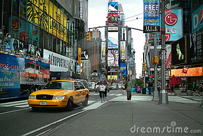 Times Square Taxi  New York USA Editorial Stock Image