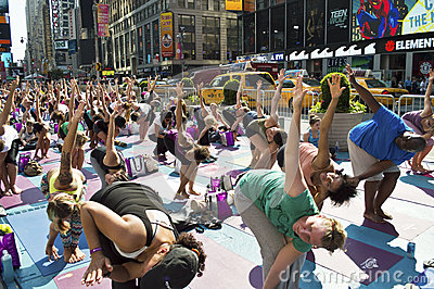 Times Square Yoga Class Editorial Photo