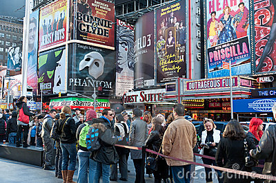 Times Squares - billboards and tourist Editorial Stock Photo