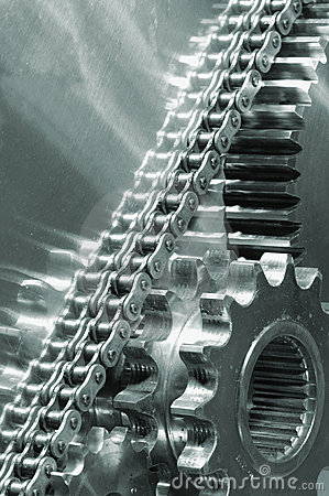 Timing-chain And Large Gear-mechanism Royalty Free Stock Photo - Image: 2012905