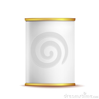 Free Tin Box Can Template Vector. 3d Realistic Empty Packaging Container Blank. Food Container. Isolated On White Background Royalty Free Stock Photos - 101710178