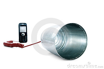 Tin can phone wired to a mobile phone