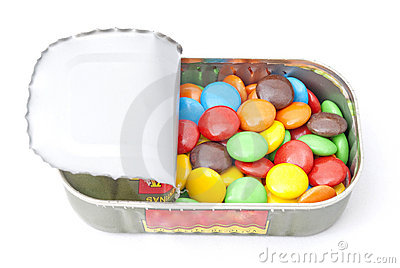 Tin with candy