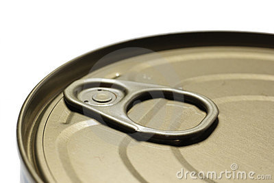 A tin food can close-up with selective focus