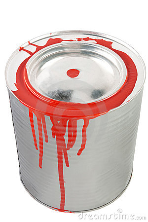 Tin of a red paint.