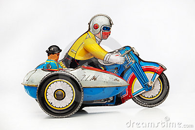 Tin toy motorbike racer