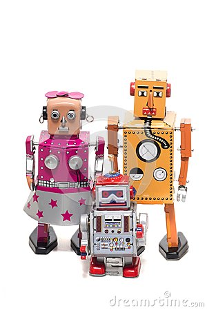 Free Tin Toy Robot Family Royalty Free Stock Images - 112407409