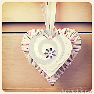 Tin  and wicker heart retro