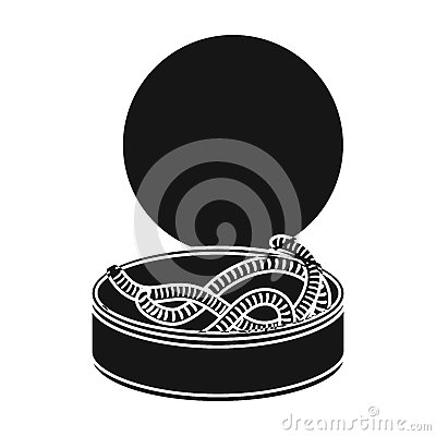 Free Tincan Full Of Worms Icon In Black Style Isolated On White Background. Fishing Symbol Stock Vector Illustration. Stock Photos - 84617183