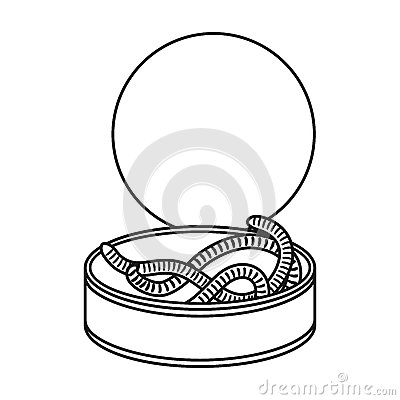 Free Tincan Full Of Worms Icon In Outline Style Isolated On White Background. Fishing Symbol  Stock Photography - 83948062