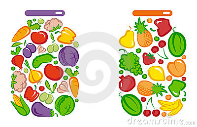 Tinned vegetables and fruit