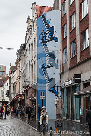 Tintin in Brussels Editorial Stock Image