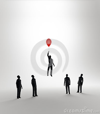Free Tiny Abstract Man Flying Away On A Balloon Royalty Free Stock Image - 27945056