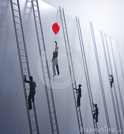 Tiny abstract people climbing ladders Stock Photo