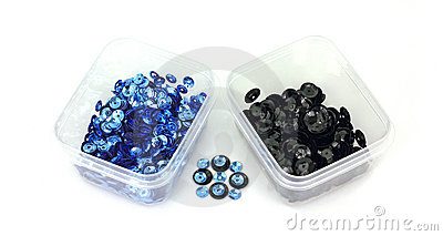 Tiny Blue and Regular Black Sequins