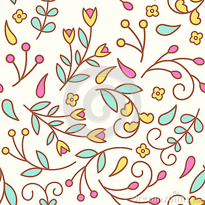 Free Tiny Line Flowers. Seamless Pattern With Colorful Floral Elements. Royalty Free Stock Photography - 88802607