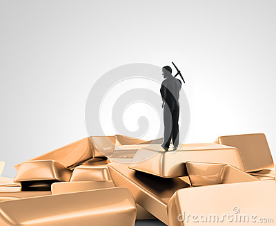 Tiny man with a pickaxe on top of a pile of gold