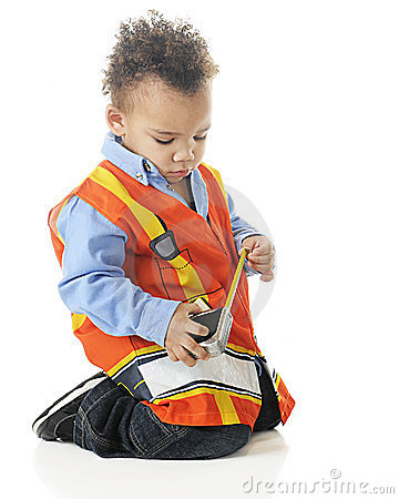 Tiny Measuring Construction Worker