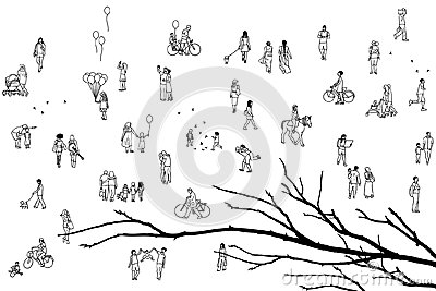 Tiny pedestrians and tree branch Vector Illustration
