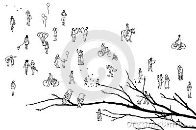 Tiny people, branch with birds Vector Illustration