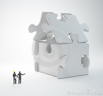 Tiny people engineers Stock Photo