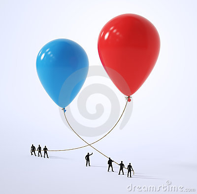 Tiny people holding red and blue balloons