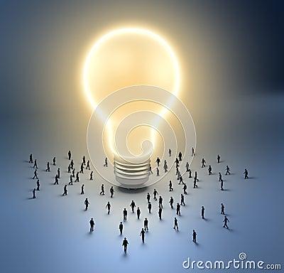 Tiny people - light bulb Stock Photo