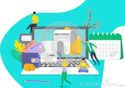 Tiny people recieve credit repor Vector Illustration