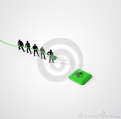 Tiny team of people with a power cord Stock Photo