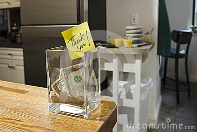 Tip jar in home kitchen
