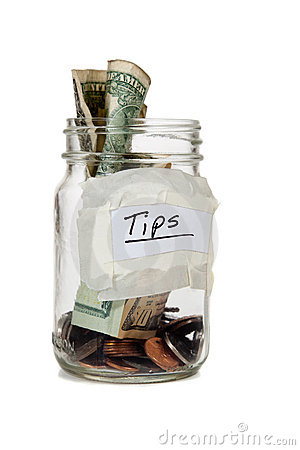Tip jar with money
