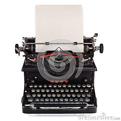 Tipo escritor holandês velho com folha de papel