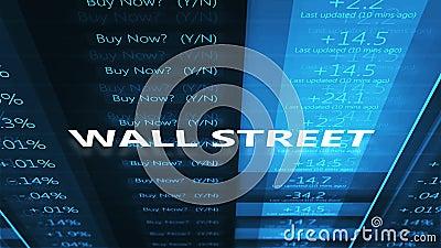 Tipografia de Wall Street sobre o relógio azul cinemático do mercado de valores de ação video estoque