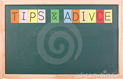 Tips and adivice, colorful word on blackboard