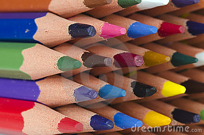 Tips of color pencils