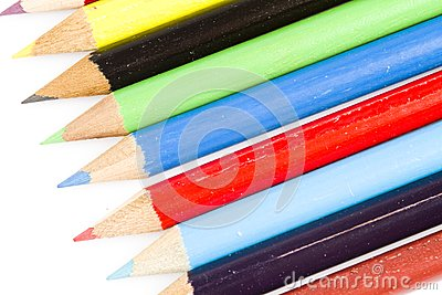 Tips of colorful drawing pencils