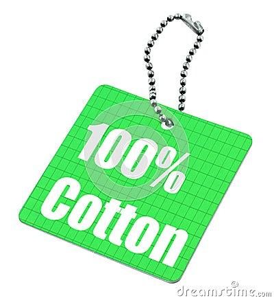 Étiquette de coton de cents pour cent