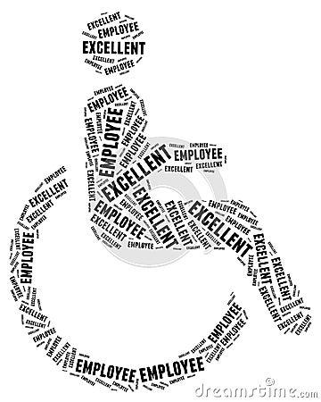 Étiquette ou nuage de mot en rapport avec les handicapés
