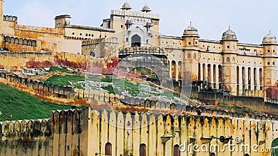 Tir haut étroit de Jaipur Amber Fort banque de vidéos