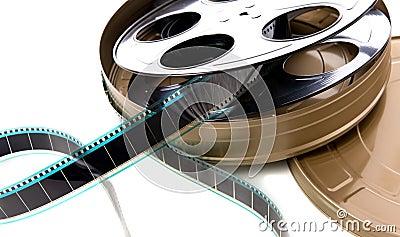 A tira da película, carretel e pode