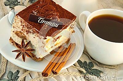 Tiramisu and a cup of hot coffee