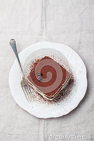 Free Tiramisu, Traditional Italian Dessert On A White Plate Top View Copy Space Stock Photo - 78520230